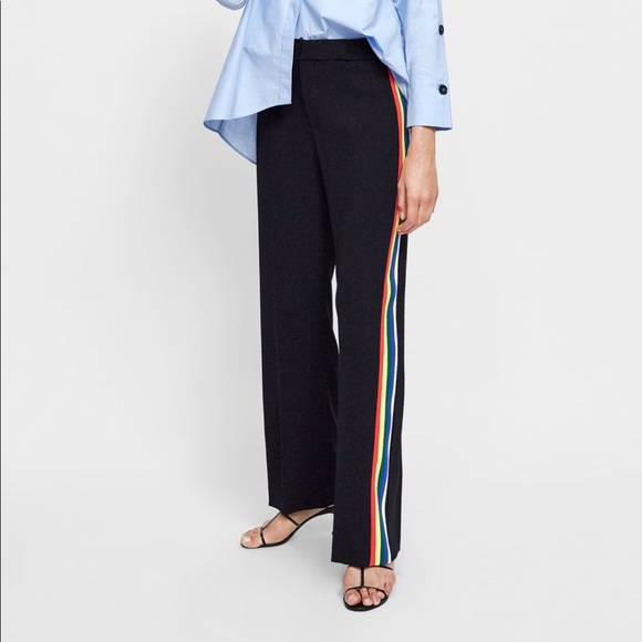 56a00829 Zara Pants | Flowy Side Striped Rainbow | Poshmark